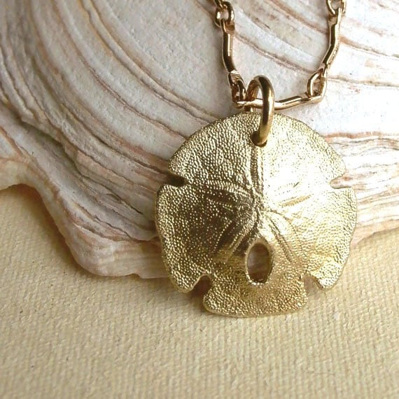 Sand Dollar Necklace - Brass - Detailed - Nature Inspired - Organic - Natural - Cottage Chic - Sea Biscuit - Beach Jewelry