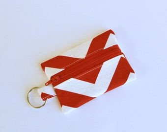 Flash Drive Holder, Small Zipper Pouch, Credit Card Case, Red Chevron