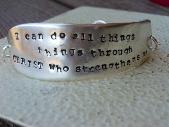 I can do all things through Christ who strengthens me Stamped Knife Blade Bracelet