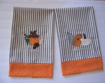 Black and Ivory Ticking  hand towel set of two - Embroidered with Fall Pumpkins - Orange Trim