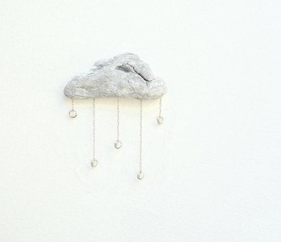 Driftwood Cloud with Vintage Crystal Raindrops - Wall Hanging - Medium