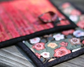 quilted pot holders - cherry blossoms