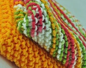 SALE Mango Madness Hand Knit Wash Cloths and Dish Cloths - Green White Red Orange