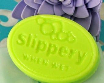 Soap - Melon Splash Scent - Slippery When Wet Design - Goats Milk Soap - Bon Jovi Fans