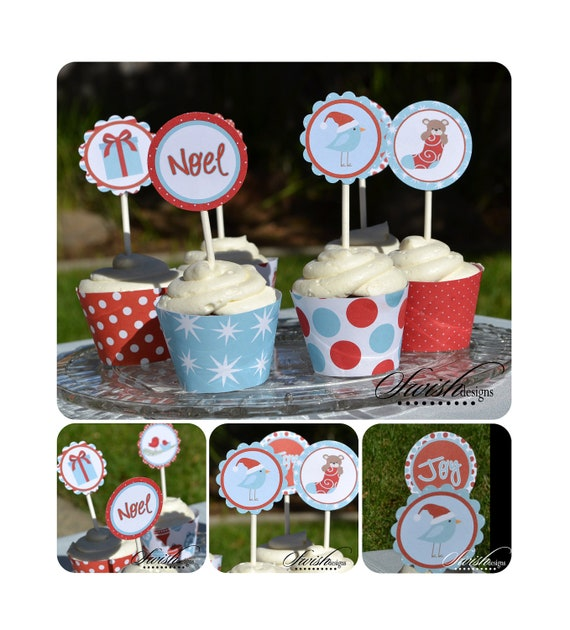 Christmas Cupcake Toppers - Winter Holiday  - 2 inch circles  - printable