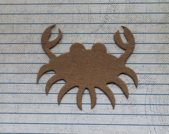 4 Bare chipboard crabby crab diecuts 3 1/8 inches wide