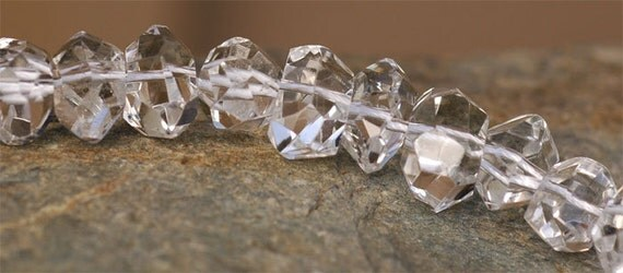Set of 4 Super Pretty Rock Candy Crystal Faceted Nuggets Gemstone Beads