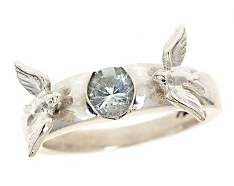 Mirrors of Our Love The Original Love Birds Solitaire Engagement Ring Aquamarine Brilliant Cut in Sterling Silver