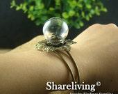 1 set 15mm Large Clear Glass Globe Bottle With Antique Bronze Flower Bracelet RI804G