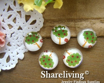 Time Limited Offer - 20% OFF - 10pcs 12mm Handmade Photo Glass Cabochon / Wooden Cabochon  (Tree) -- BCH112A