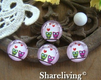 Time Limited Offer - 20% OFF - 10pcs 12mm Handmade Photo Glass Cabochon / Wooden Cabochon (Owl) -- BCH120F