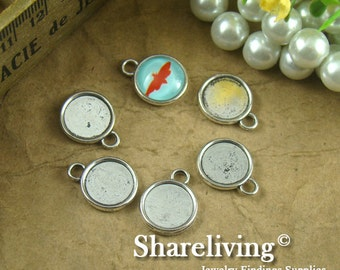 10pcs Antique Silver 12mm Round Cameo Base Setting Charm / Pendant AS136