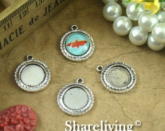 10pcs Antique Silver 12mm Round Cameo Base Setting Charm / Pendant AS137