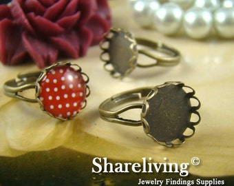 10pcs Antique Bronze Adjustable Nickel Free With 12mm Round Lace Cameo Setting RI441