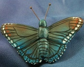 Wood Carving Pin of a Red-Spotted Purple Butterfly - (Limenitis arthemis)