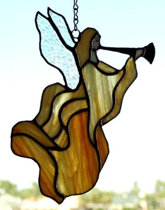Handmade Orange swirled Stained Glass Angel Suncatcher