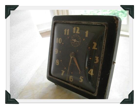 Vintage Alarm Clock - Westclox - black metal - shabby chic decor - art deco