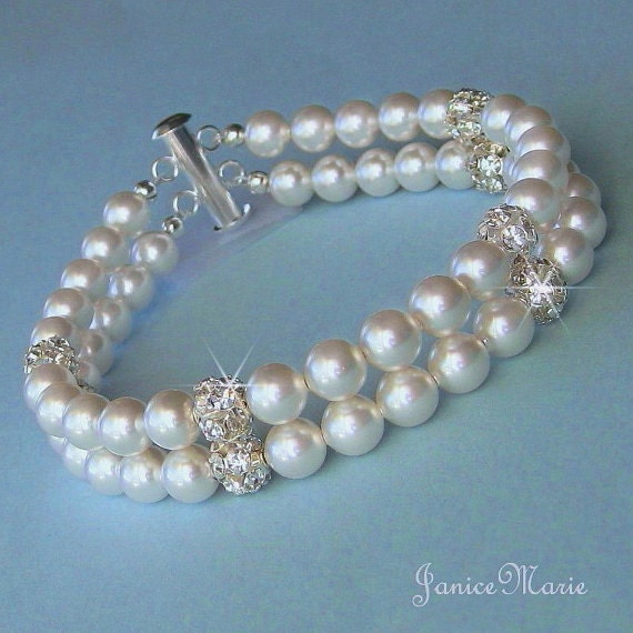 Double Strand Pearl Bracelet, Pearl Fireball Cuff Bridal Bracelet, White or Ivory, Pearl & Crystal Bracelet, Wedding Jewelry by JaniceMarie