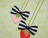 strawberry bow necklace