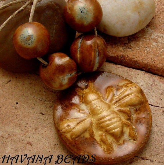 GOLDEN RUSTIC BEE - Handmade Ceramic  Pendant with Coordinating Beads