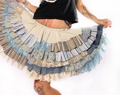 Ruffle Circle Skirt. Gothic Lolita ruffles, light earth tones cream tan blue Patchwork, sparkle lace stripes