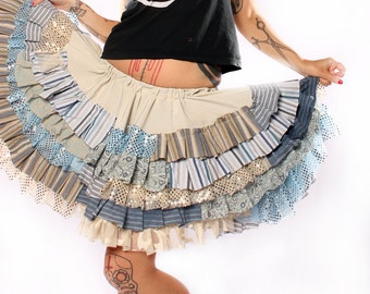 Ruffle Circle Skirt. Gothic Lolita ruffles, light earth tones cream tan blue Patchwork, sparkle lace stripes