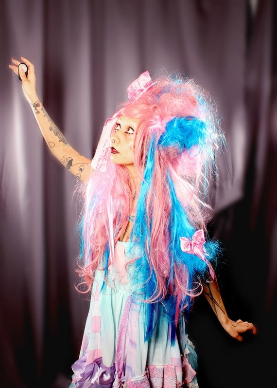 Cotton Candy Wig, Pink Blue Huge Long Costume Party Doll Dress Up Hair Cosplay Long Gothic Lolita Victorian Princess Hair