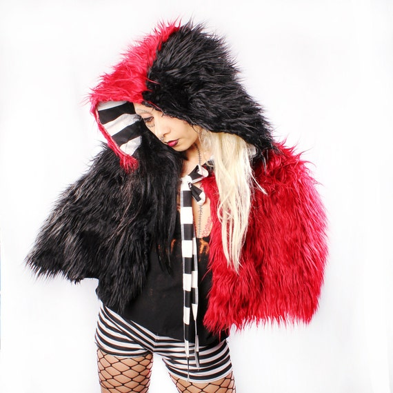 Sale. Festival Hood Cape, Blood Red Black Monster Fur cloak shawl Gothic Rocker Capelet coat Carnival Performer Cosplay