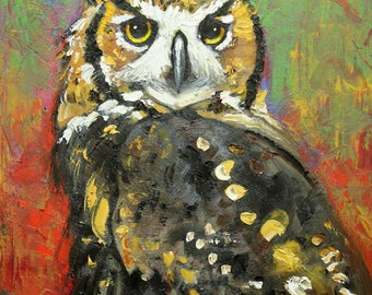 Owl 33 16x20 inch Print from oil painting by Roz