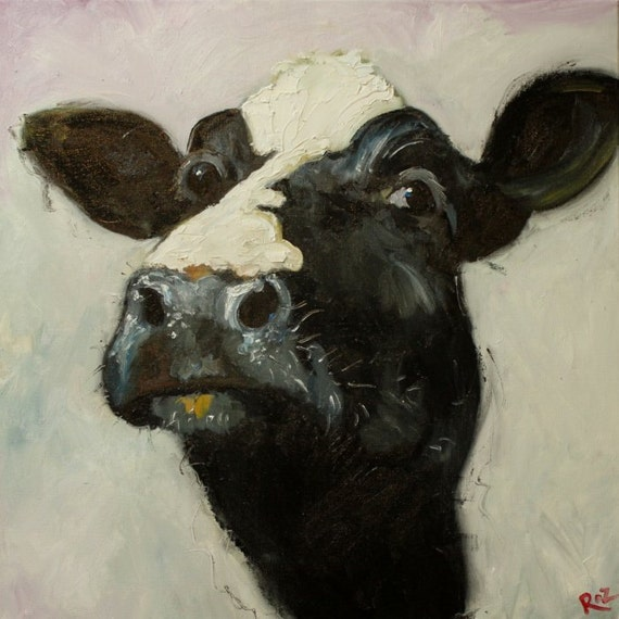 Cow painting 509 18x18 inch original animal oil painting by Roz