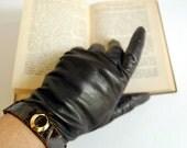Vintage Gloves Brown Leather Short Size 7.5, Medium to Large