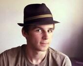 Vintage Mens Fedora Hat Straw Towncraft Penney Black Mad Men Hat Size 7 1/8