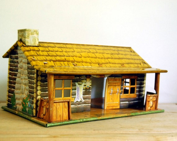 Vintage Toy Building Tin Marx Bar M Ranch 1950s Western Doll House Cabin