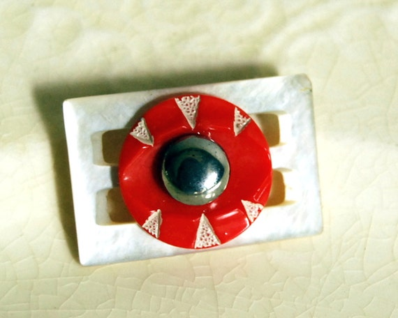 Vintage Button Brooch Geometric Glass and Mother of Pearl Jewelry