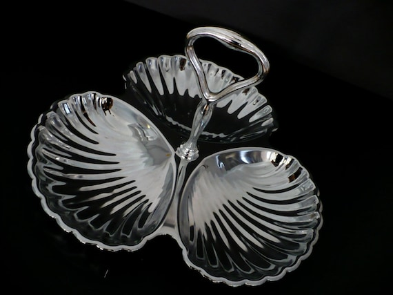 Vintage Sea Shell Serving Tray -Dish Candy Holder Silver Three Sections Hostess Gift  Weddings Appetizer Tray Ornate Scallop Hors D'oervres