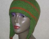 Knit Ear Flap Hat Green (RESERVED FOR SANDY)
