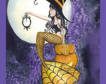 Mermaid Witch with Clock from Original Watercolor Painting by Camille Grimshaw