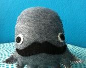 Grey  Mr. Mustachio Felt Plushie