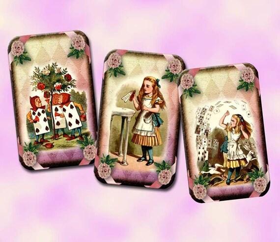 ALiCE In WONDeRLaND-Whimsical Vintage ArtTags/Cards/Labels-INSTaNT DOWNLoAD- Printable Collage Sheet JPG Digital File-NeW LoWER PRiCE