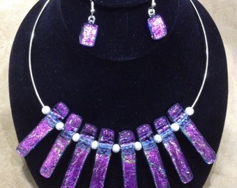 Pink to Purple Dichroic Chandelier Drop Necklace
