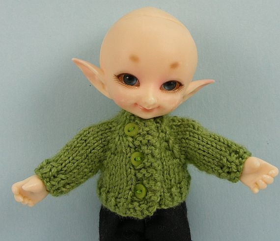 Fairyland Real Puki BJD doll hand knitted olive green cashmere silk cardigan RP123