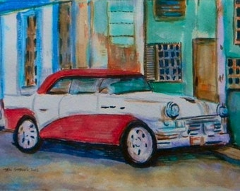 Classic American Car Painting - Original Art in Frame
