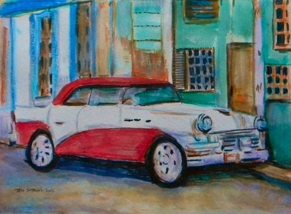 Classic american car painting original art in frame for American classic frames