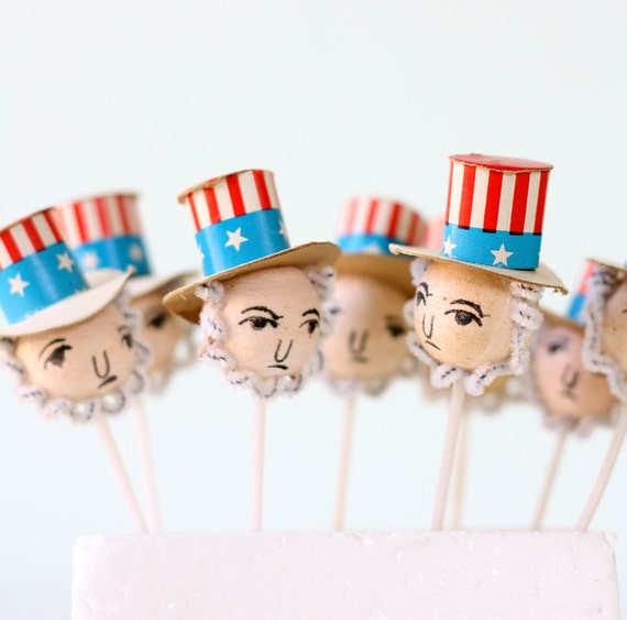 Vintage Uncle Sam Cake Toppers - Set of 8