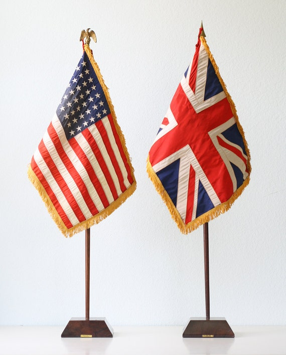 Vintage Flag Set - US and British Union Jack Flags