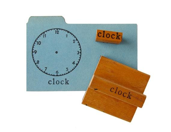Vintage CLOCK Rubber Stamps - Set of 2