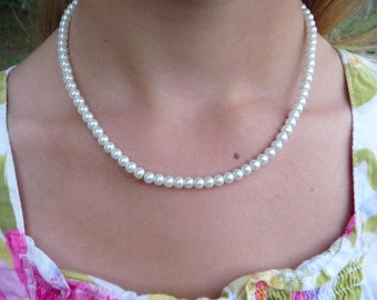 Pearl Necklace for Little Girls or Babies ... Great for Flower Girls, Baptisms, Portraits, Easter