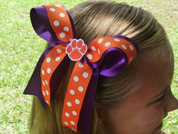 Clemson Tigers Hair Bow - Purple and Orange