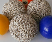 Soft Juggle Ball Set Crocheted in Brown and Tan Cotton Pet Toy Set