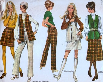 Vintage Sewing Pattern  Simplicity 8955 Mini Skirt, Bell Bottoms, and Vest  Size 14 Bust 36 Inches  Complete